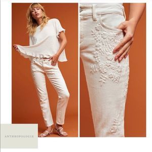 Pilcro | White Hyphen Mid-Rise Embroidered Jeans